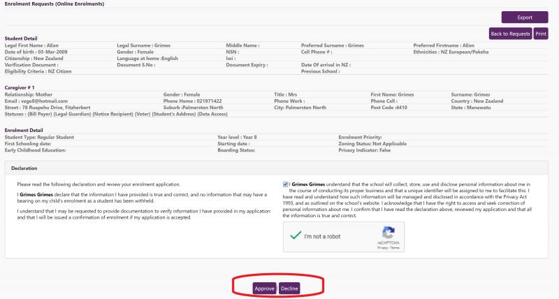 Online Enrolments Approval