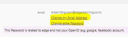 change password and email