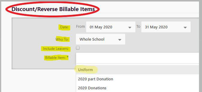 Discount Billable Items