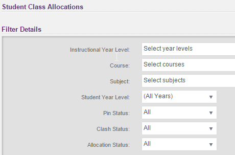 we wanted to show you the auto timetabling student class allocations filter