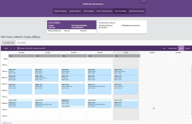 we wanted to show you the student portal timetable view