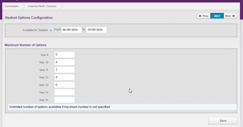 Student Option Configuration