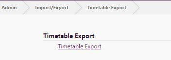 Timetable Export